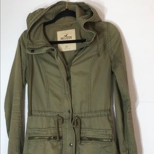 Hollister Xs Army Green Coat hood full zip